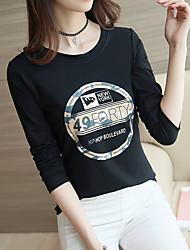 Sign 2017 spring new women's long-sleeved t-shirt female Korean Slim shirt dress pattern