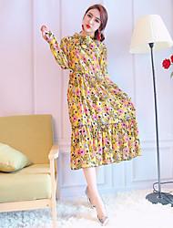 assinar primavera nett e Outono nova cintura elástica vestido de mangas compridas chiffon floral e seções longa saia assentamento