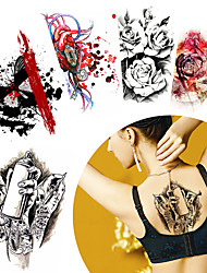 cheap -5 Pieces Colored Drawing Flower Arm Back Body Art Temporary Tattoo Sticker Heart Blood Decal Paper