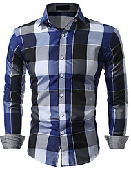Men's Casual/Daily Simple Spring Fall Shirt,Plaid Classic Collar Long Sleeves Cotton
