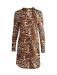 cheap -Women's Shift Dress - Leopard Turtleneck