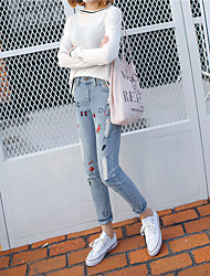 Sign 2017 Korean embroidery pattern loose jeans feet