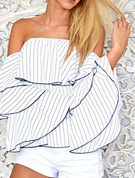 Women's Off The Shoulder Going out Sexy Spring Summer T-shirt,Striped Boat Neck Sleeveless Cotton Opaque