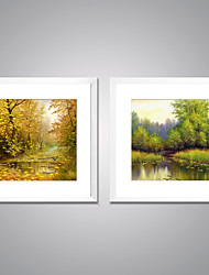 cheap -Framed Canvas Print Landscape Floral/Botanical Modern Realism,Two Panels Canvas Square Print Wall Decor For Home Decoration