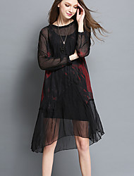 cheap -Women's Going out Holiday Plus Size Casual Sexy Loose Chiffon Dress,Print Round Neck Knee-length Long Sleeves Cotton Spring Mid Rise