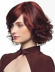 preiswerte -Synthetische Haare Perücken Wellen Afro-amerikanische Perücke Kappenlos Natürliche Perücke Medium Rot