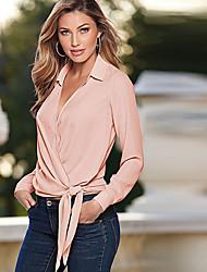 cheap -Women's Polyester Shirt - Solid Shirt Collar