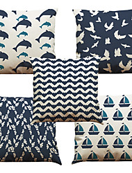 Set of 5 Dolphin Geometry Pattern  Linen Pillowcase Sofa Home Decor Cushion Cover (18*18inch)