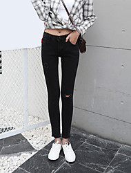 Sign spring models Korean high waist black jeans worn thin pencil pants feet pantyhose flash