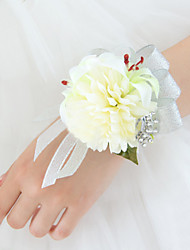 Wedding Flowers Free-form Lilies Peonies Wrist Corsages Wedding Party/ Evening Silver Satin