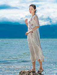2017 Primavera sinal vestido nova ruga de seda de algodão bordado lapela costura e longas seções