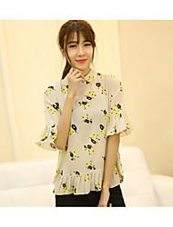 действительно сделать 2016 весной новые женщина корейского цветок печати плиссированных оборками шифон рубашку самодельной