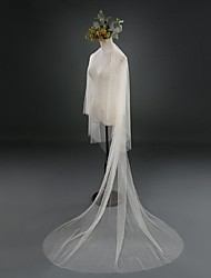 One-tier Cut Edge Wedding Veil Cathedral Veils With Tulle Wedding Accessories