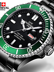 Carnival Da uomo Orologio alla moda Orologio da polso orologio meccanico Carica automatica Acciaio inossidabile Banda Nero Nero - verde