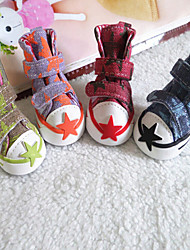 Cat Dog Shoes & Boots Cute Birthday Cowboy Casual/Daily Reversible Fashion Stars Orange Red Green Blue For Pets