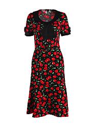 Robe Aux femmes Grandes Tailles Vintage / Soirée / Décontracté , Imprimé Col Arrondi Mi-long Mélanges de Coton