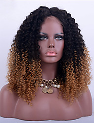 cheap -Remy Human Hair Full Lace Wig Kinky Curly 180% Density Ombre Hair / Natural Hairline / African American Wig Women's Short / Medium Length / Long Human Hair Lace Wig / 100% Hand Tied