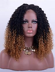 baratos -Cabelo Remy Frente de Malha Peruca Kinky Curly Peruca 180% Cabelo Ombre / Riscas Naturais / Peruca Afro Americanas Mulheres Curto / Médio / Longo Perucas de Cabelo Natural / Crespo Cacheado