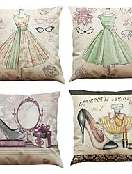 """Недорогие -набор из 4 романтических европеоидных печатных льняных подушки покрытия творческой площади украшения (18 """"* 18"""")"""