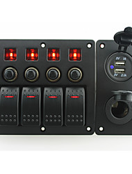 cheap -IZTOSS red led DC12/24V 4 Gang on-off rocker switch curved panel and circuit breaker with label stickers and power socket and 3.1A USB port for boat m