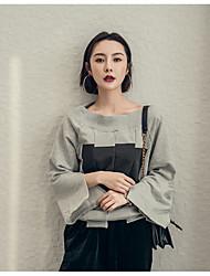 Original lazy street sense leakage shoulder sweater box printing horn sleeve shirt spell color shirt asymmetric split