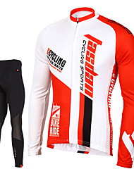 cheap -TASDAN Men's Long Sleeves Cycling Jersey with Tights - Black Bike Tights Jersey Pants / Trousers Clothing Suits, 3D Pad, Quick Dry,