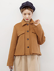 NEW ITEMS cute Korean Institute of wind woolen jacket lapel pocket