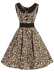 Women's Rockabilly Vintage Dress Leopard Print Round Neck Knee-length Sleeveless Cotton All Seasons Mid Rise