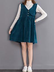 Hang mold Sign Hitz ladies patch pocket corduroy vest skirt solid color dress