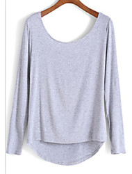 Women's Daily Date Vacation Street Simple Fall T-shirt,Solid Color Round Neck Long Sleeves N/A Medium