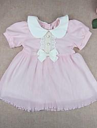 Baby Daily Solid DressCotton Nylon Summer Pleated Dress