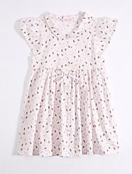 cheap -Girl's Daily Dress, Cotton Linen Summer Short Sleeves Floral White