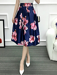 Women's Going out Casual/Daily Knee-length Skirts,Cute A Line Pleated Floral Summer Spring