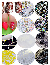 1pcs Nail Art Transfer Foils Sticker Colorful Design Sweet Lace Beautiful Flower Laser Cobweb Design Nail DIY Foils Tip For Manicure Beauty STZXK11-20