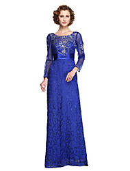 cheap -Sheath / Column Jewel Neck Floor Length Lace / Tulle Mother of the Bride Dress with Beading / Appliques / Sash / Ribbon by LAN TING BRIDE® / Illusion Sleeve