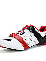 cheap -SANTIC Road Bike Shoes Carbon Fiber Anti-Slip, Ultra Light (UL), Breathable Cycling White / Black / Red Men's / Forged Microlock Buckle and Strap Adjuster