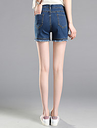 Sign 17 spring and summer denim shorts female large size women fat mm200 pounds Korean student pants waist edges