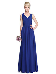 A-Line V-neck Floor Length Georgette Bridesmaid Dress with Criss Cross Side Draping by LAN TING BRIDE®