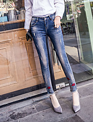 2017 spring and summer jeans female feet pantyhose collage lips tight pencil jeans female trousers