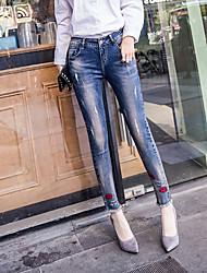 2017 primavera e l'estate dei jeans piedi femminili collant collage labbra dei jeans La matita stretta pantaloni femminili