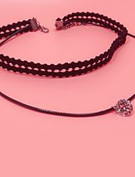 Женский Ожерелья-бархатки Бижутерия В форме цветка Кружево Искусственный бриллиант Базовый дизайн Тату-дизайн Двойной слой Бижутерия
