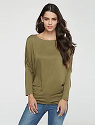 billige -Flagermuseærmer Bateau-hals Dame - Ensfarvet Bomuld, Krøllede Folder Plusstørrelser T-shirt / Efterår / flare Sleeve