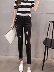segno di primavera 2017 di nuovo modo di sottili jeans slim femminile coreano nove piedi pantaloni marea sfilacciati