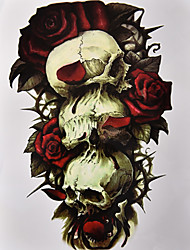 cheap -1Pcs Skull Rose 3D Tattoo Sticker