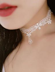 baratos -Mulheres Flor Renda Gargantilhas Y-colares  -  Floral Tatuagem Pingente Branco Preto Colar Para Casamento Festa Ocasião Especial