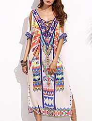 Women's Beach Simple Loose Dress,Print V Neck Maxi ½ Length Sleeve Rayon Summer Mid Rise Inelastic Medium