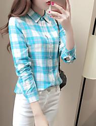 Grande tamanho xadrez camisa 2017 primavera nova fêmea solta fina camisa de mangas compridas fora do passeio wild college vento coreano