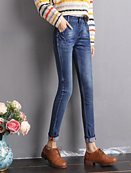The new high waist jeans female feet pants trousers Korean version of the spring was thin pencil pants