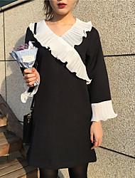 Signer chic super cents korea flounced couture v-cou couvert sauvage tempérament longue robe
