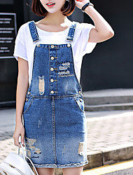 Sign in spring 2017 new hole denim strap dress loose big yards student was thin skirt suspenders